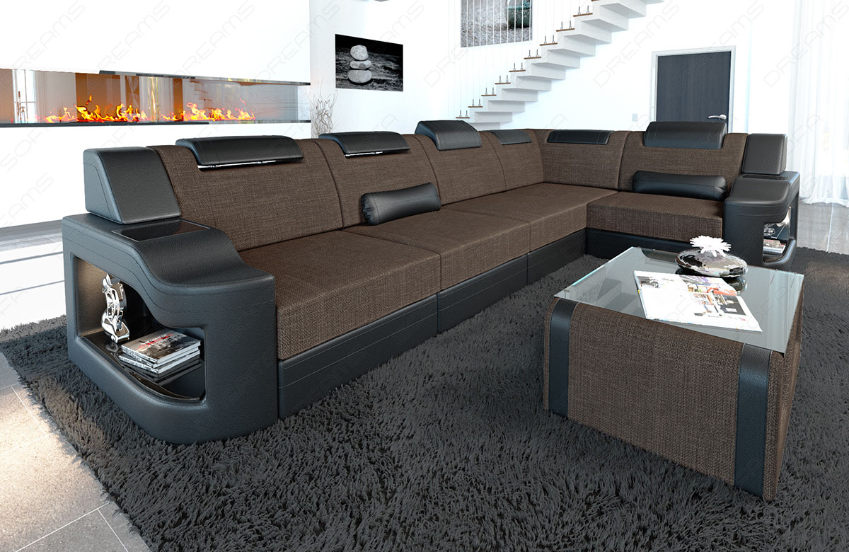 Polster Couch Details About Fabric Sectional Sofa Manhattan L Shape Designer Couch With Led Light