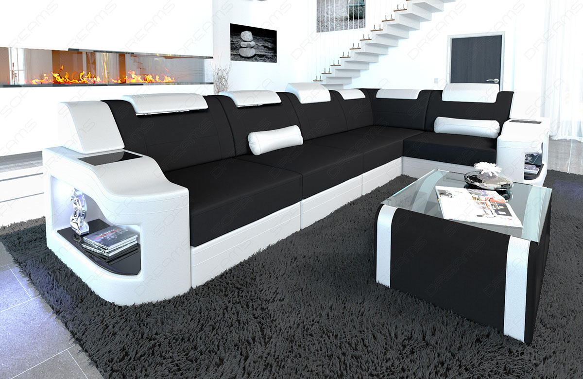 Designer Couch Schwarz Details About Fabric Sectional Sofa Manhattan L Shape Designer Couch With Led Light