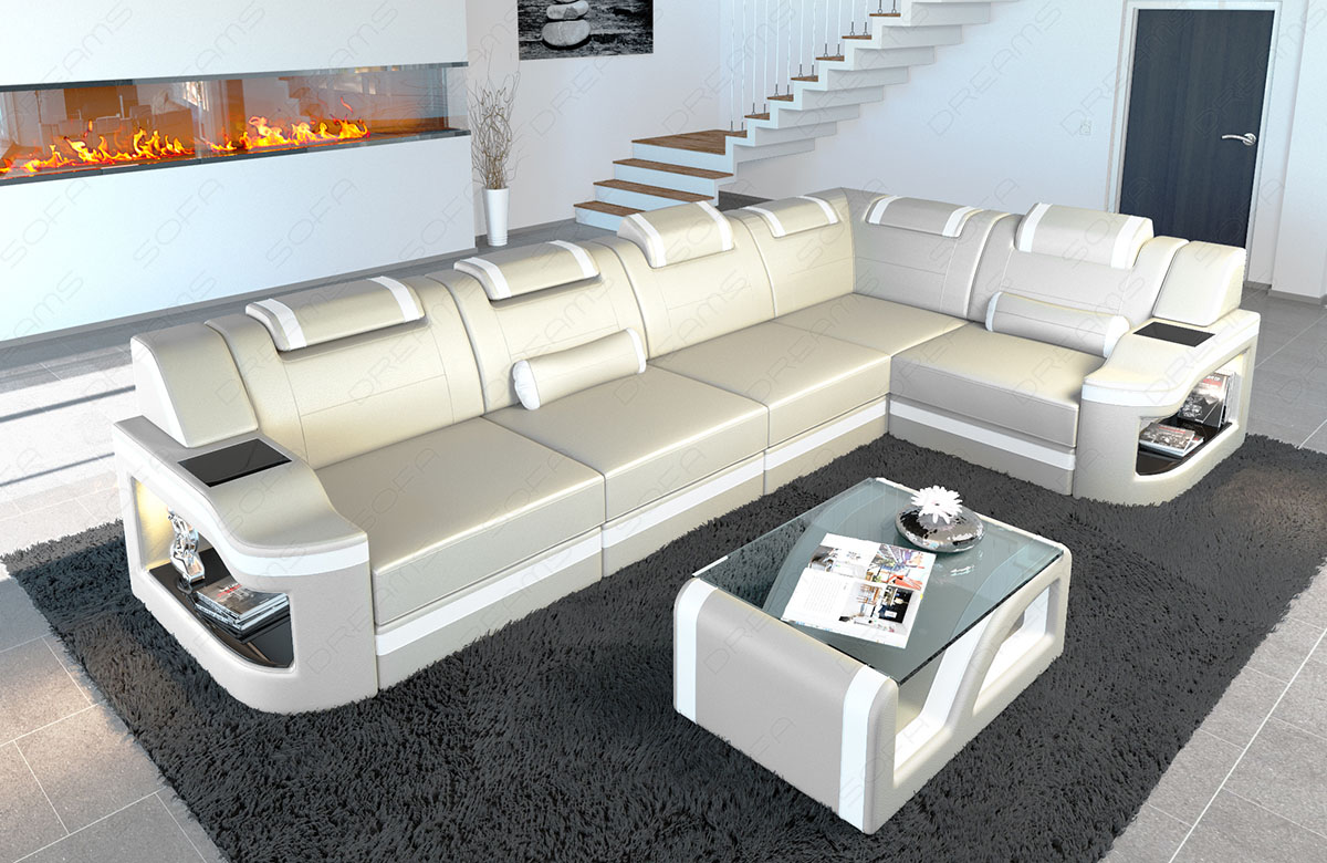 Couch L Form Details About Leather Corner Sofa Manhattan L Shape With Led Lights