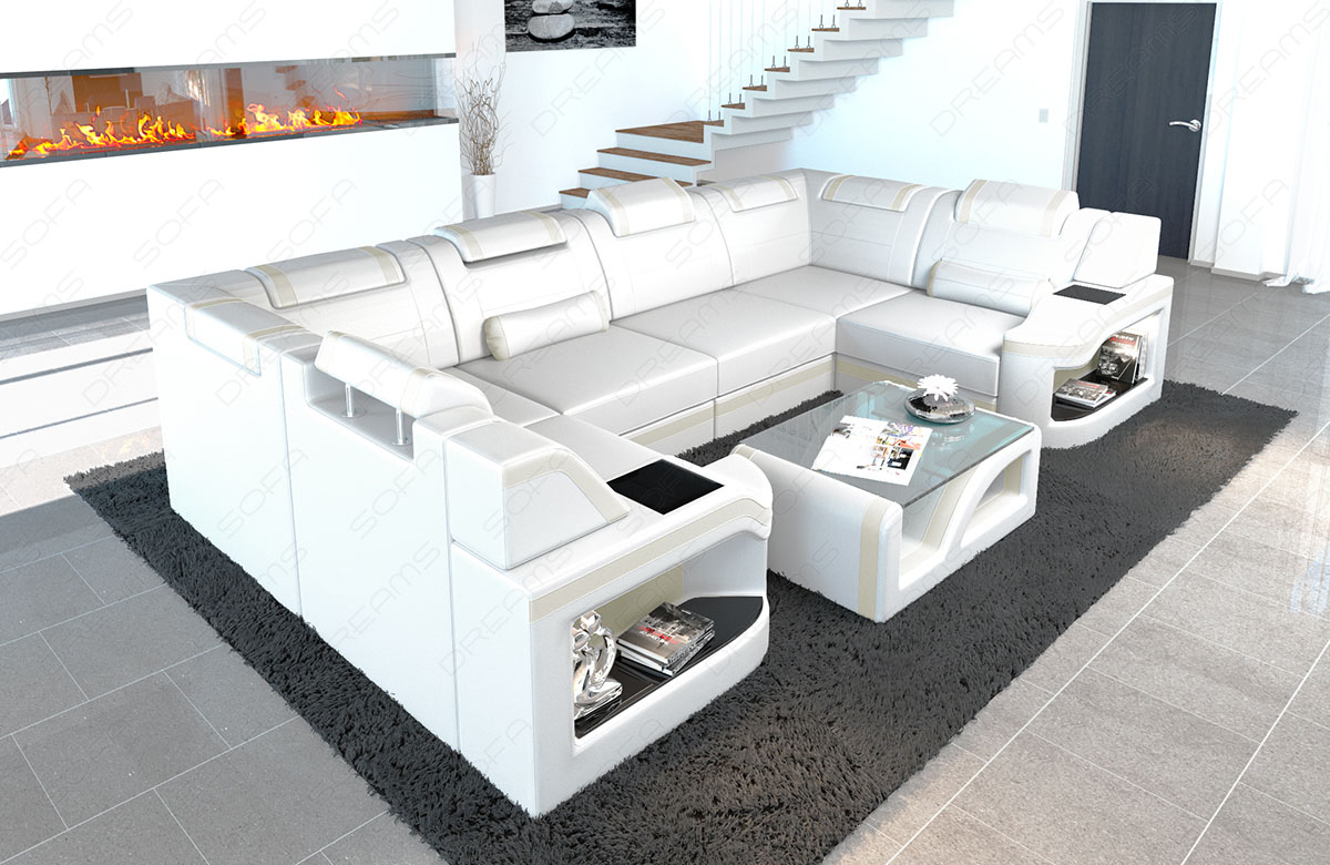 Modern Living Room Leather Sectional Sofa Manhattan U Shape Adjustable Headrest Ebay