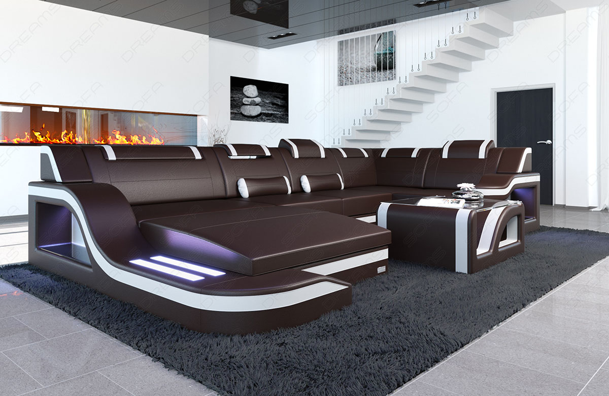Rgb Led Couchtisch Designsofa Palermo U Form Luxus Couch Garnitur 43 Led Rgb