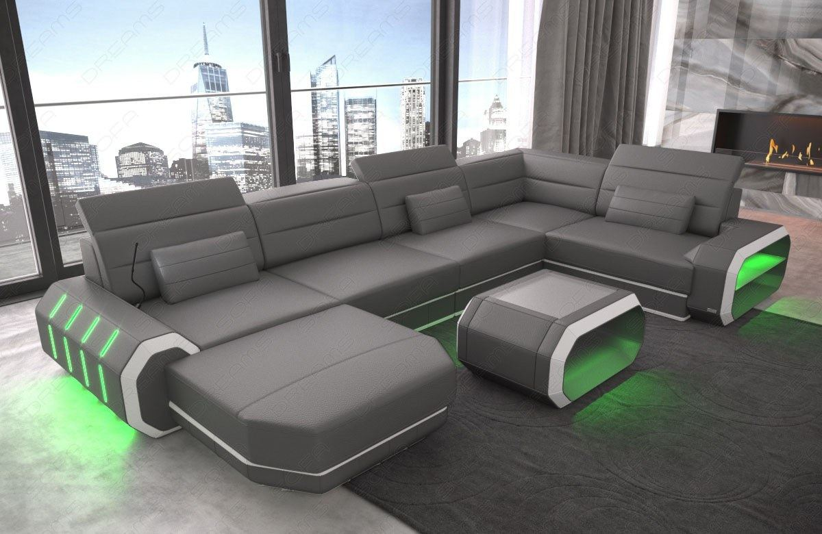 Sofa Dreams Finanzierung Detalles Acerca De Leather Sectional Sofa Design Couch Ottoman Led Lights Modern Sofa Contemporary