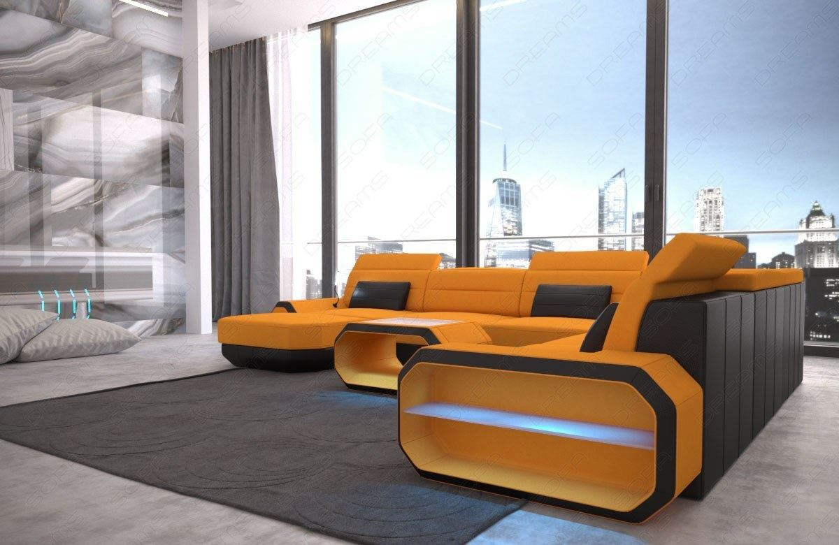 Couchtisch Roma Wohnlandschaft Materialmix Roma Xxl Designcouch Polstersofa Led Beleuchtung Usb