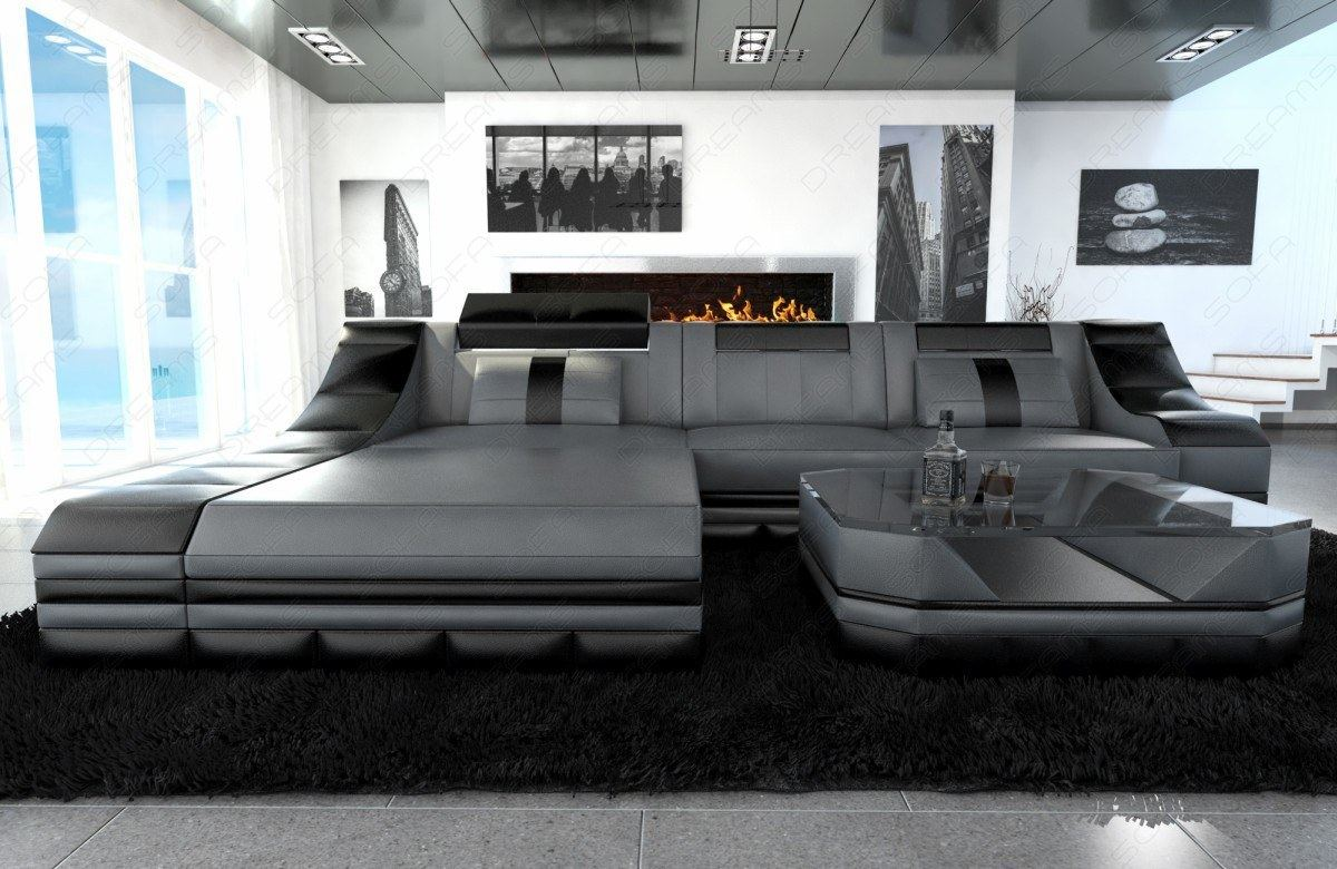 Luxury Sectional Sofa Turino L Shape With Led Grey Black - Ledersofa Grau