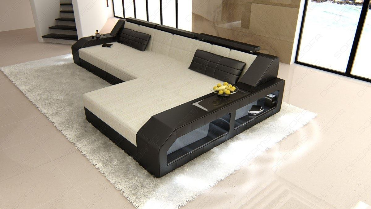 Ledercouch Ebay Details About Fabric Luxury Couch Houston L Shape Designer Sofa With Led Lights