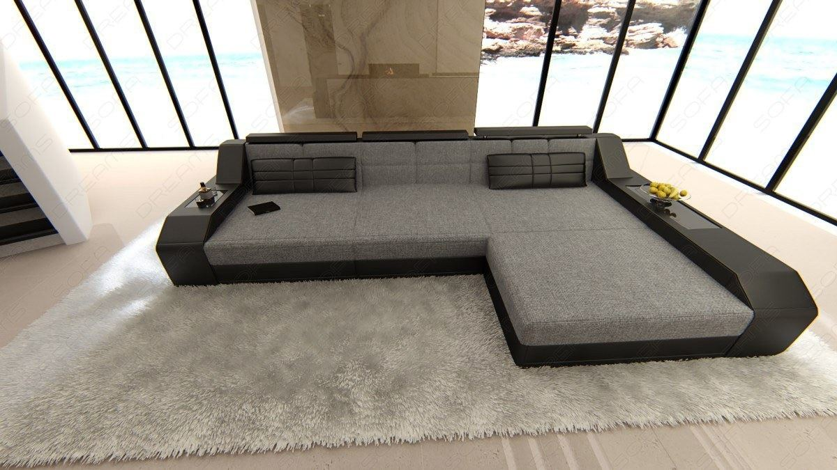 Couch L Form Details About Fabric Luxury Couch Houston L Shape Designer Sofa With Led Lights