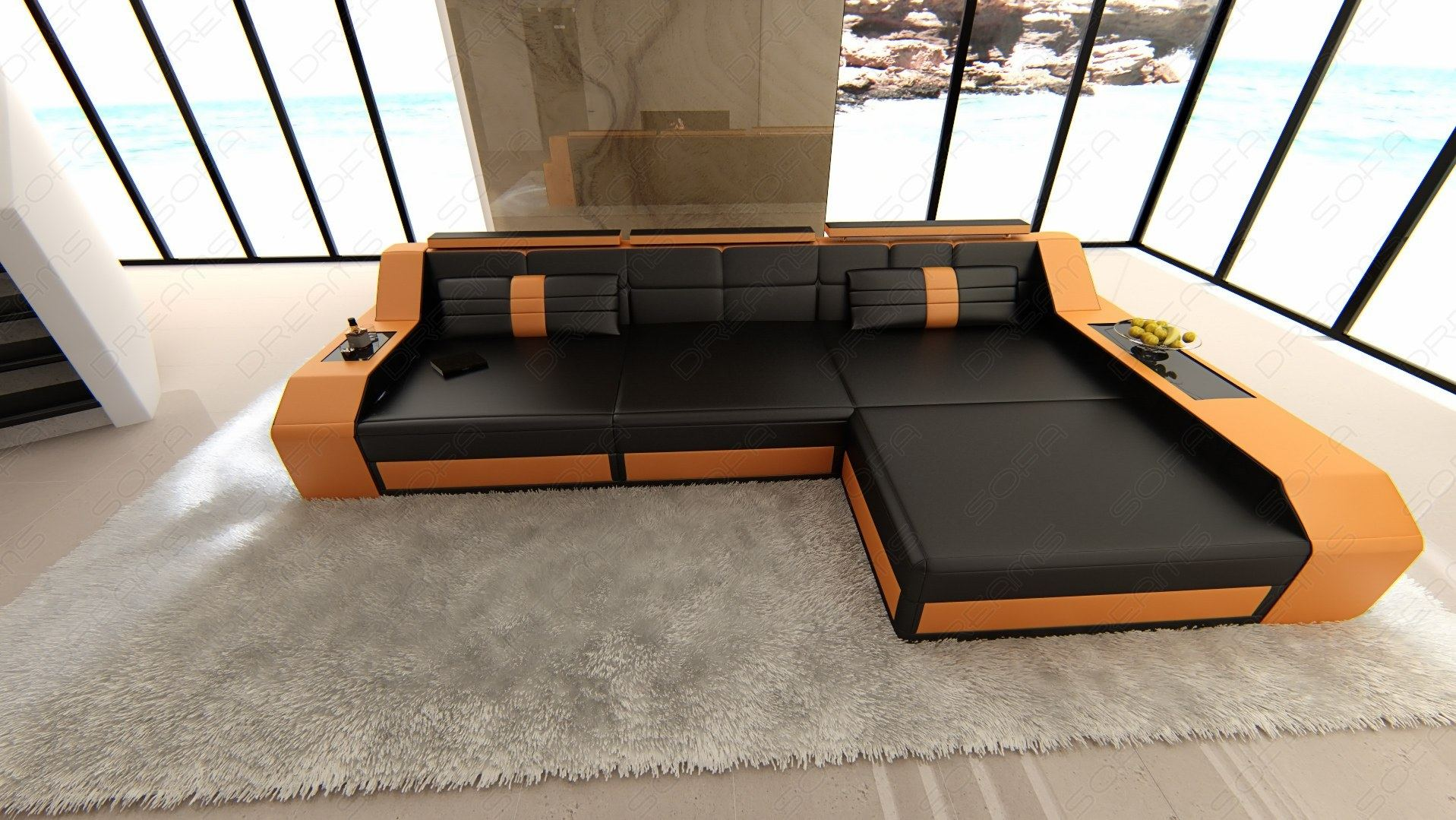 Sofa Dreams Ledersofa Modern Sectional Sofa Arezzo L Shaped With Led Lights