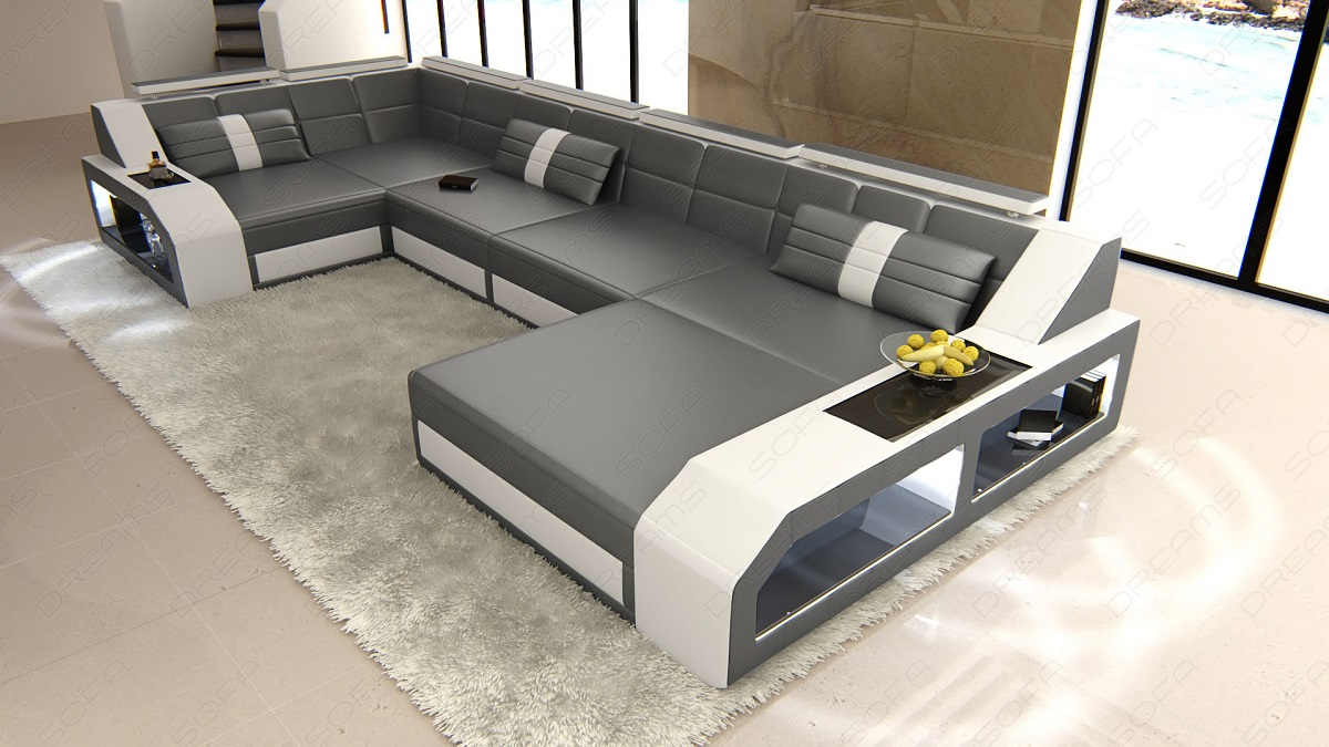 Couch U Form Grau Modern Corner Sectional Sofa Houston U Shape Led Lights - Colour Selection | Ebay