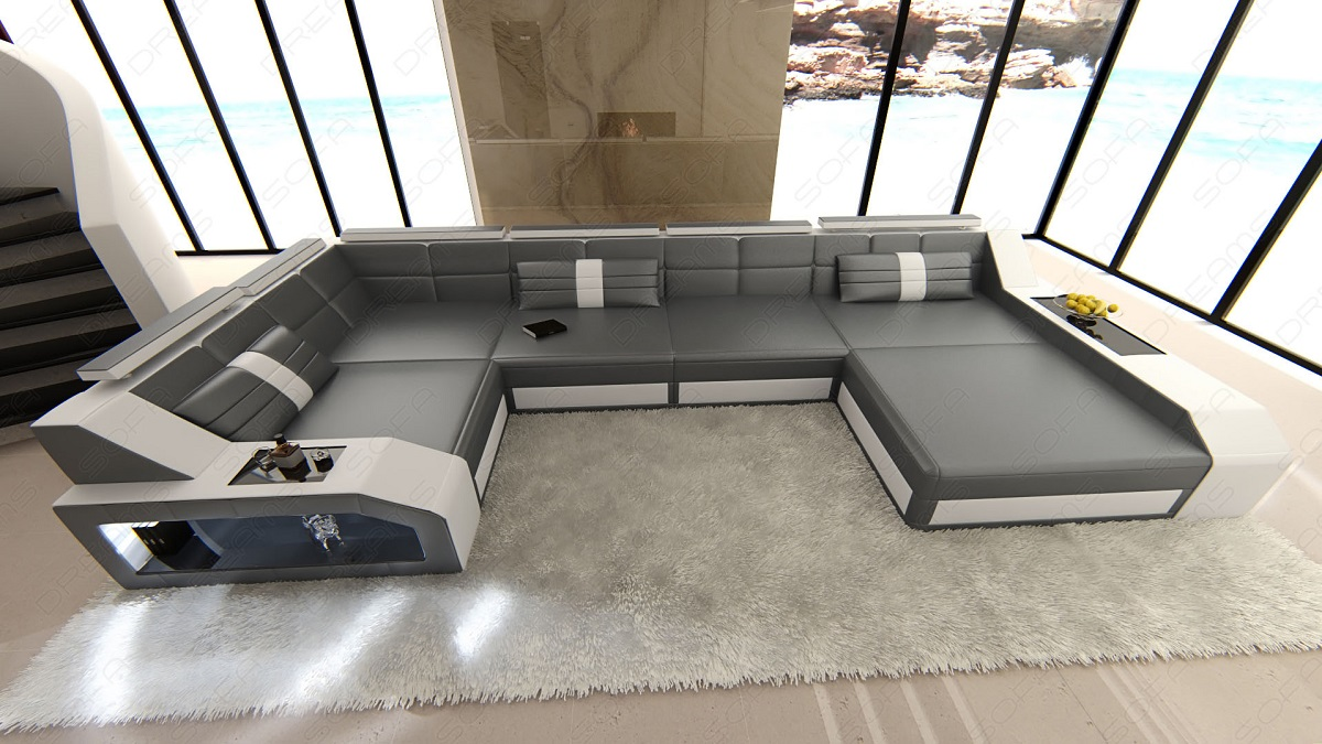 Xxxl Couch Design Sectional Sofa Arezzo Led Grey White | Ebay