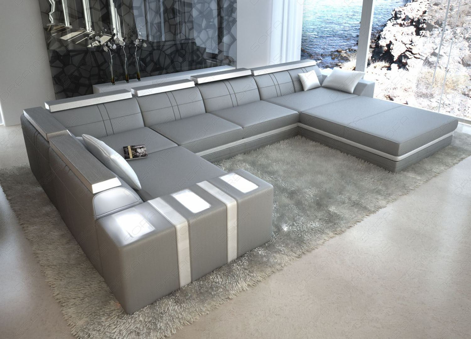 U Sofa Grau Leather Sofa Asti U-shaped Grey/white Interior Design