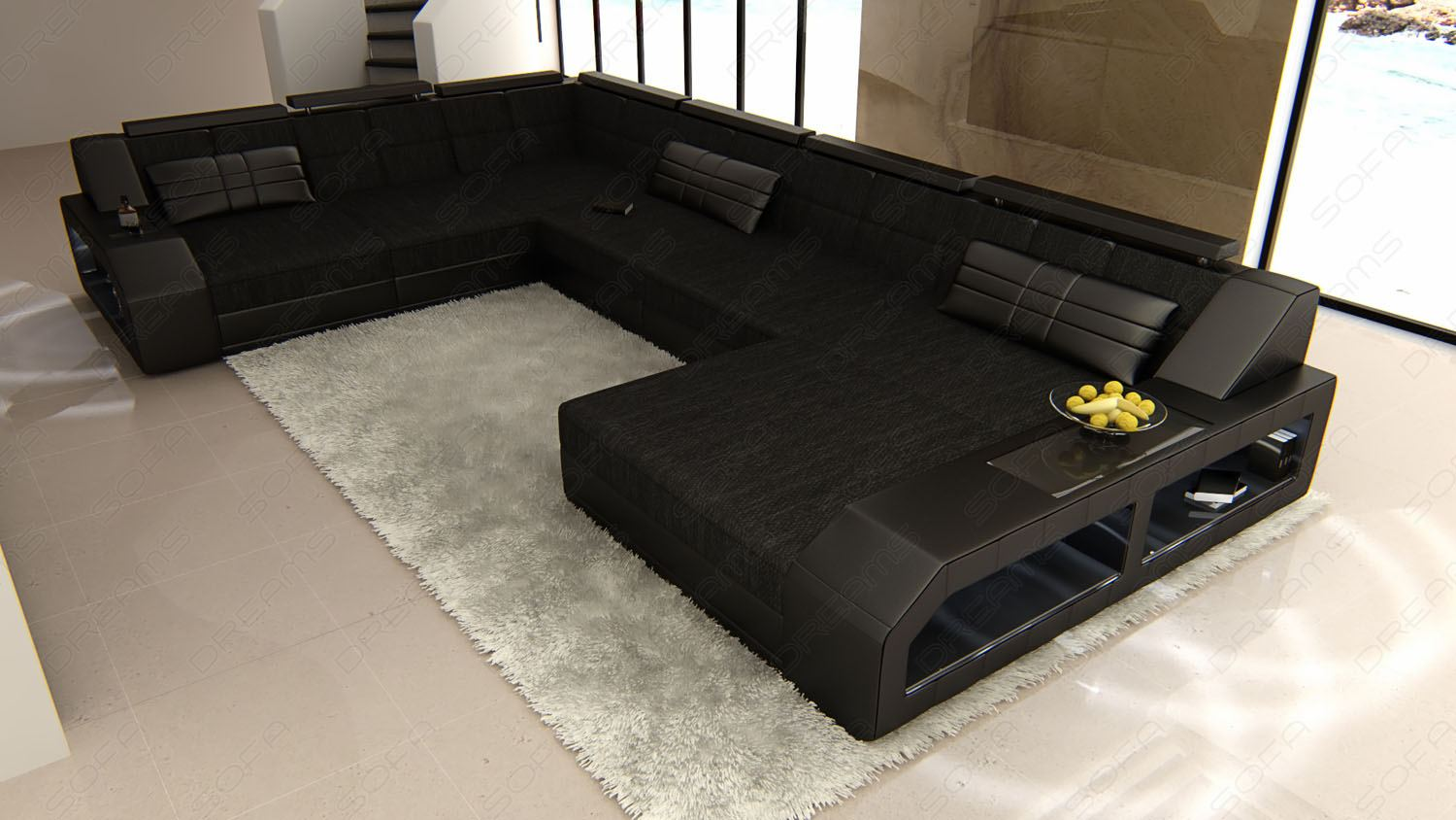 Designer Couch Schwarz Details About Sectional Fabric Sofa Houston Xl Designer Couch With Led Light
