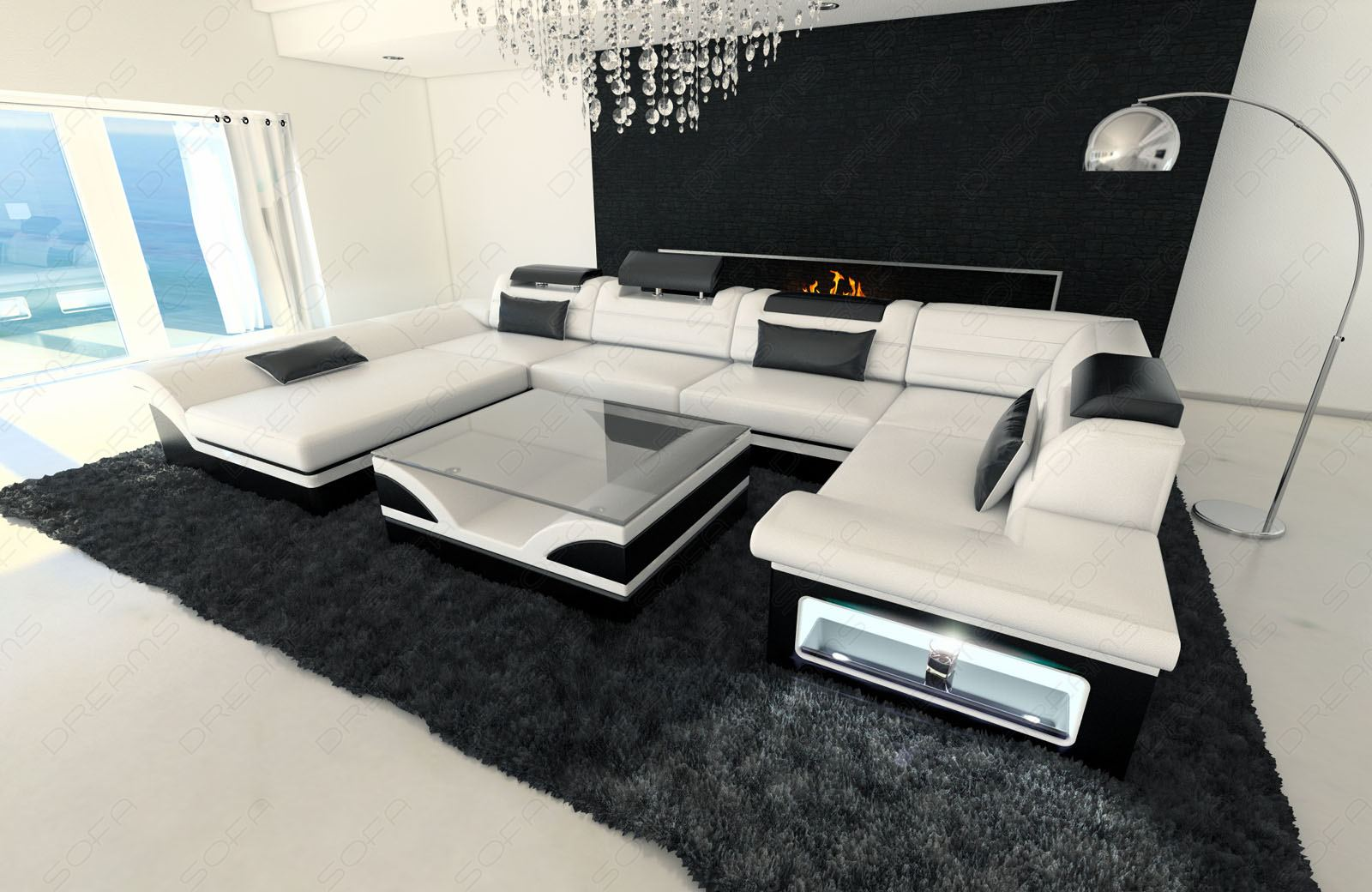 Sofa Dreams Uk Leather Interior Design Enzo U Shaped Sofa With Led