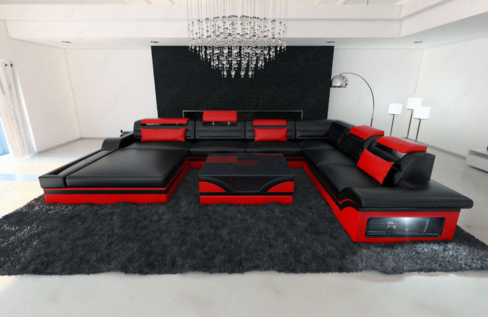Design Couch Detalles Acerca De Luxury Design Sectional Sofa Mezzo Xxl With Led Lights Genuine Leather