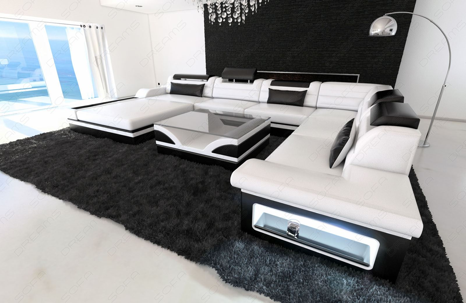 Couch Xxl Design Sectional Sofa Mezzo Xxl With Led Lights White Black
