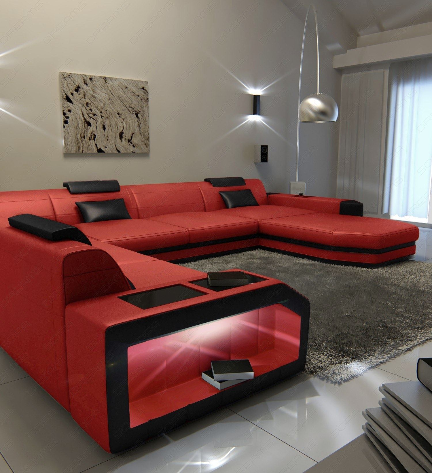 Sofa Xxl Detalles Acerca De Big Sectional Leather Sofa Dallas Xxl With Led Lights Remote European Style