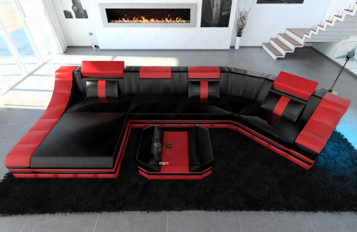 Ledersofas Ebay Details About Luxury Sectional Corner Sofa New York C Shape With Led Lights Leather Design