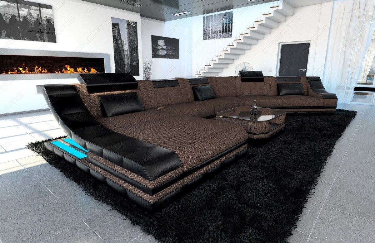 Fabric Sectional Sofa New York Cl Big Design Couch Led Light Ebay