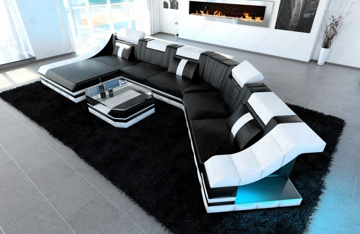 Sectional Corner Sofa New York Cl Shape With Led Lights Leather Luxury Design Ebay