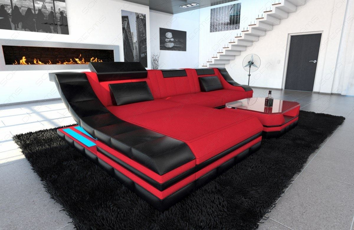 Sofa Schwarz Details About Sectional Fabric Sofa New York L Shape Couch With Led Lights