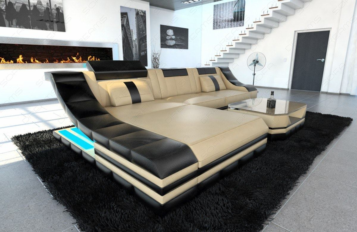 Los Angeles Style Leather Sectional Sofa New York L Shape Lights Design Luxury Ebay