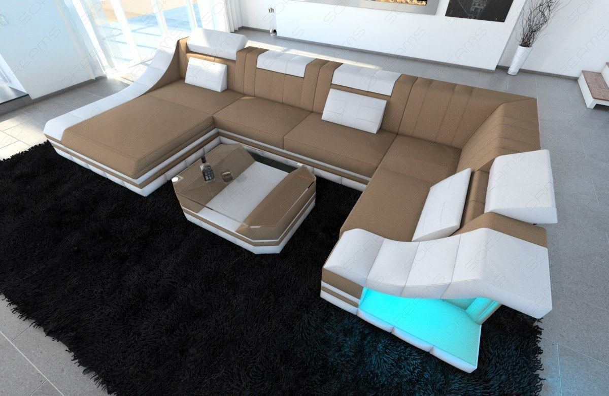 Sofa Dreams Betten Detalles Acerca De Fabric Sectional Sofa New York U Designer Couch With Led Lights Colour Selection