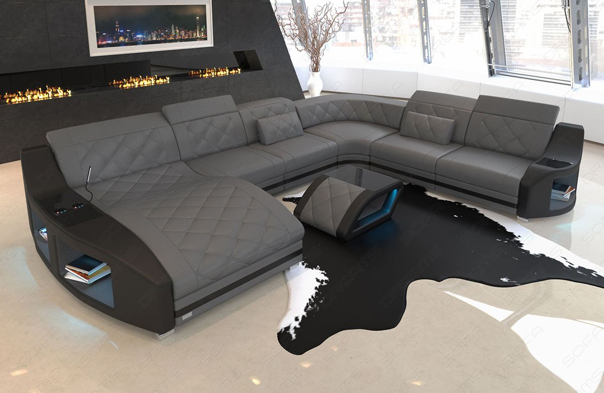 Xxl Sofa Design Details About Sectional Sofa Palm Beach Xl Led Genuine Leather Design With Cupholder