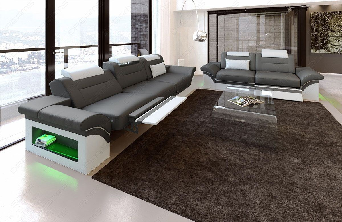Couchgarnitur Monza 3 2 1 In Leder Mit Eingebauter Led - Couchgarnitur