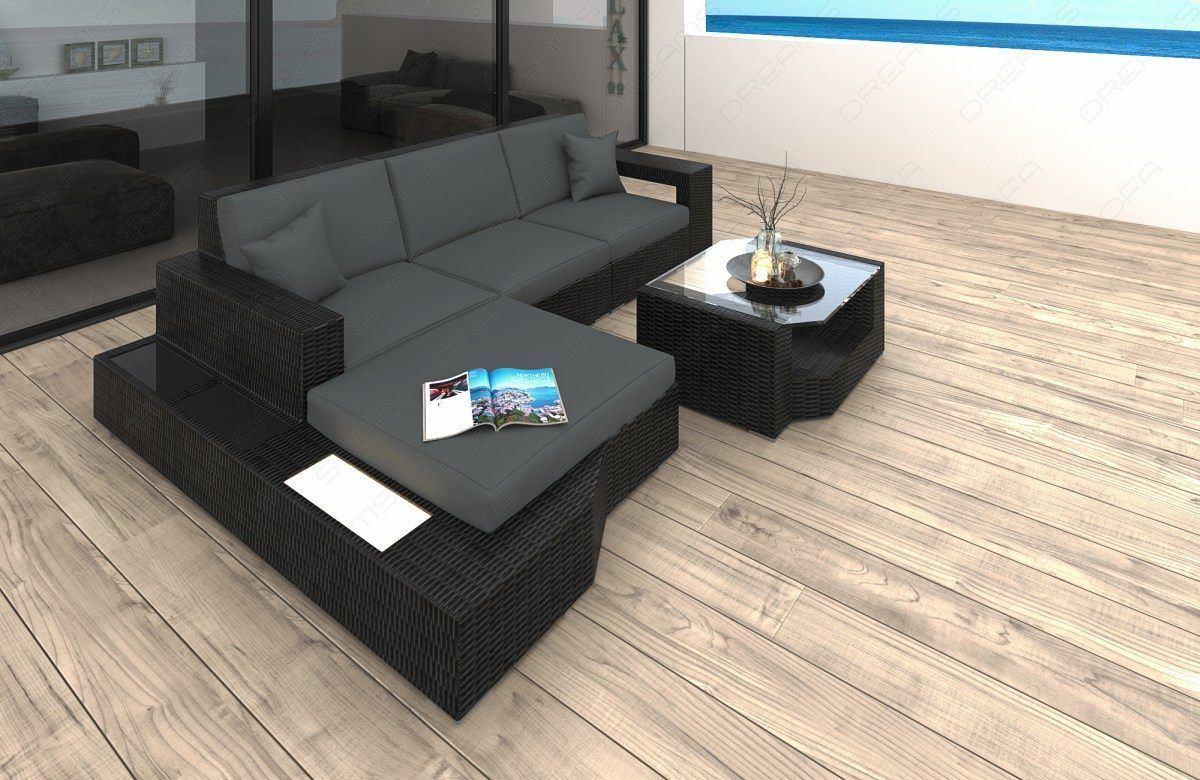 Rattan Lounge U Form Gartenmöbel Abdeckung Ecksofa Traum Garten