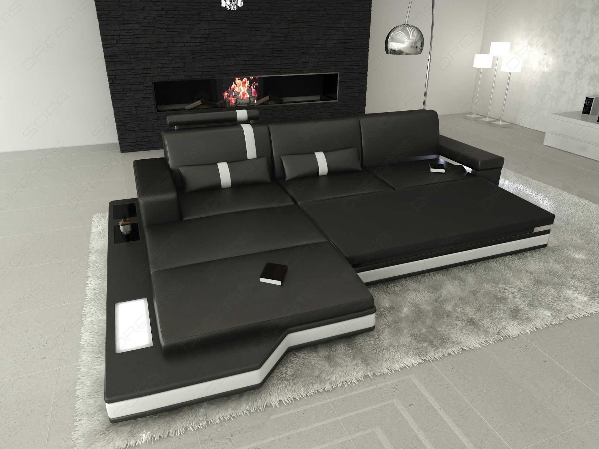 Big Sofa Mit Schlaffunktion Sofas & Ledersofa | Ledersofa Messana L-form Led - Sofas
