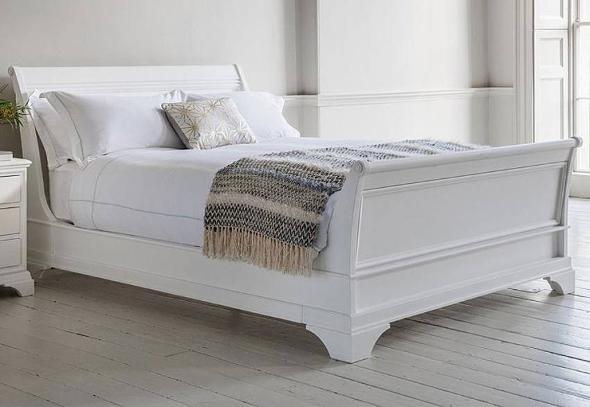 Storage Bed Chaise Sofa Gallery Direct - Aurelia Sleigh Beds - Hand Painted White