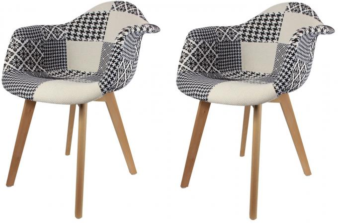 Lot De 6 Chaises Transparentes Lot De 2 Chaises Scandinaves Avec Accoudoir Patchwork