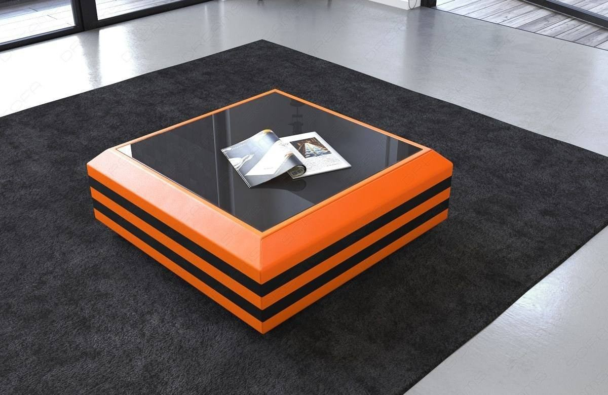Couchtisch Orange Coffee Table Leather Hollywood Extendable In Orange Black