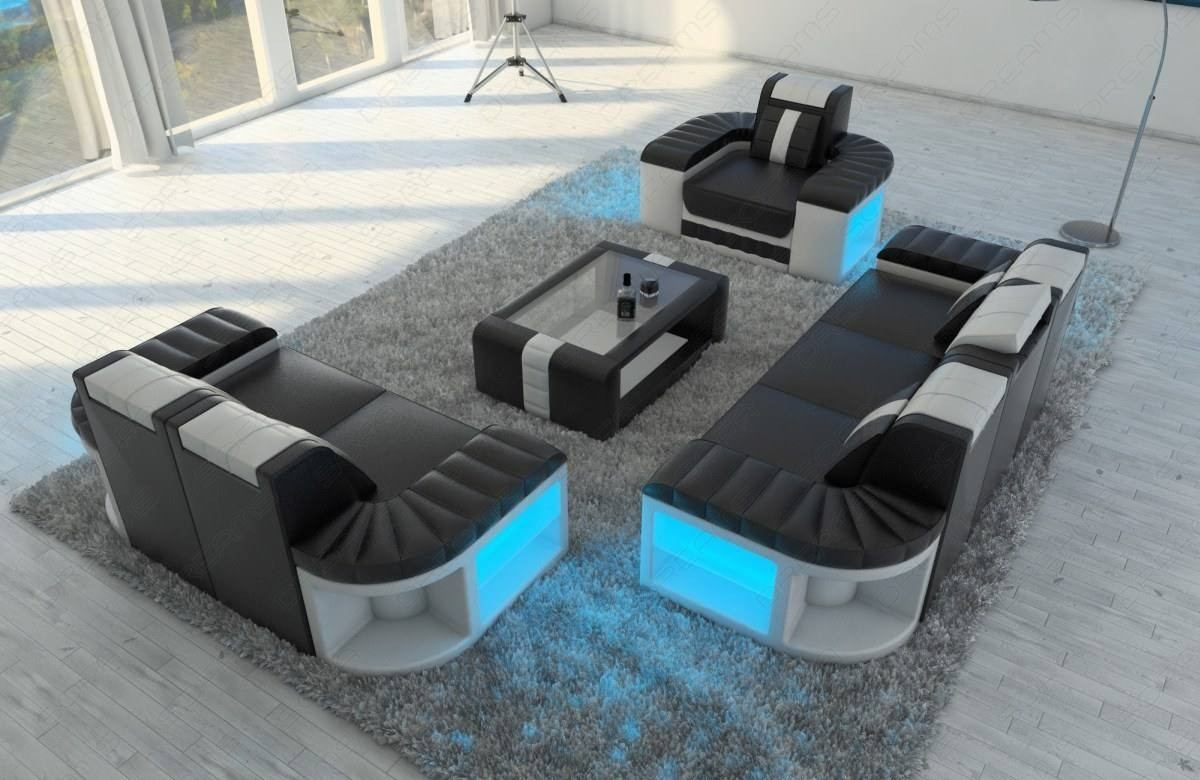 Sofagarnitur 3 2 1 Leather Sofa Set Boston 3 2 1 Led