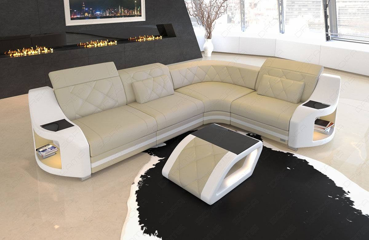 Couch Leder Cappuccino Eck Couch Led