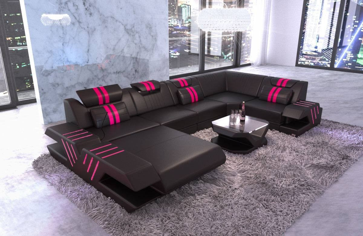 Couch Leder Cappuccino Ottomane Modern