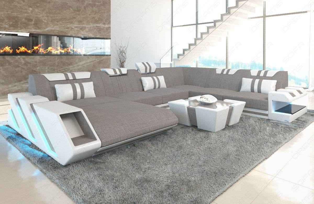 Grau Sofa Fabric Sofa New Jersey Xl Shape Led With Usb Connection