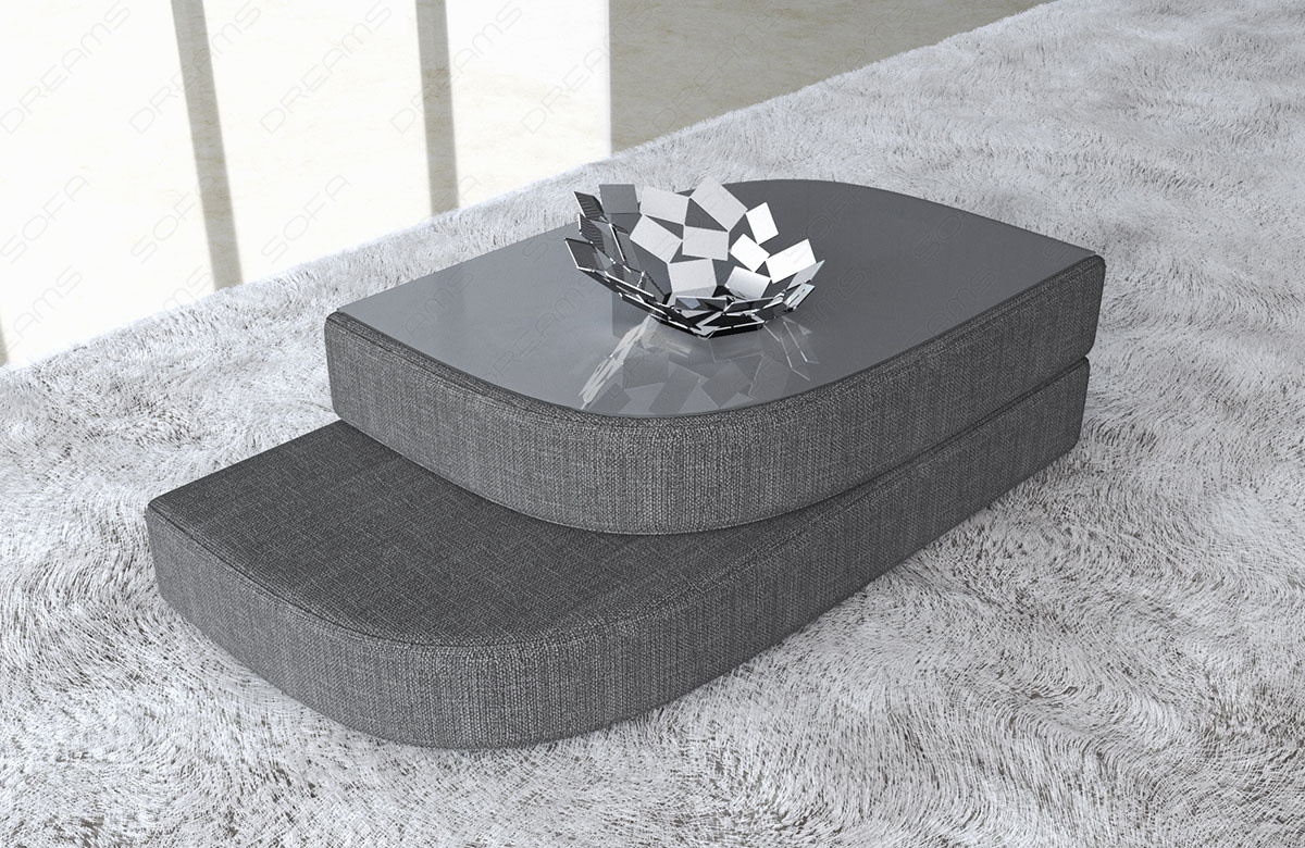 Las Vegas Coffee Table With A Fabric Cover Around The Frame