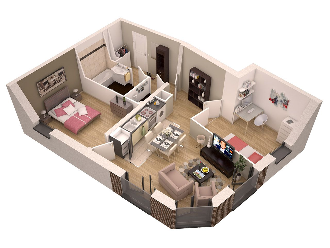 Studio 30m2 Plan Plan Appartement 3d Sofag