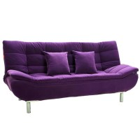 Purple Sofa And Yellow Walls
