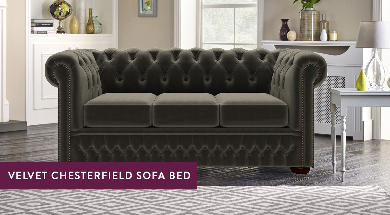 Chesterfield Suites Velvet Chesterfield Sofa Beds Luxury Tufted Styles