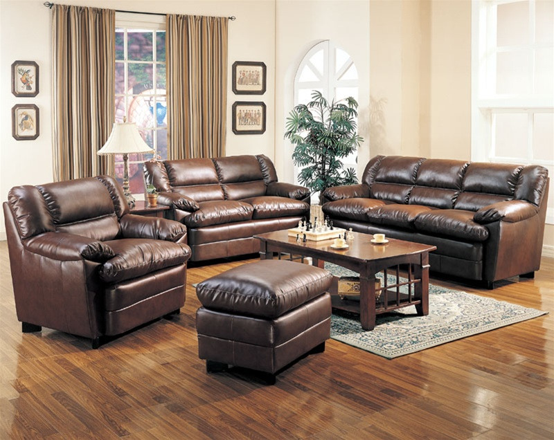 Living Room Sofas Sets Harper Leather Living Room Set In Brown | Sofas