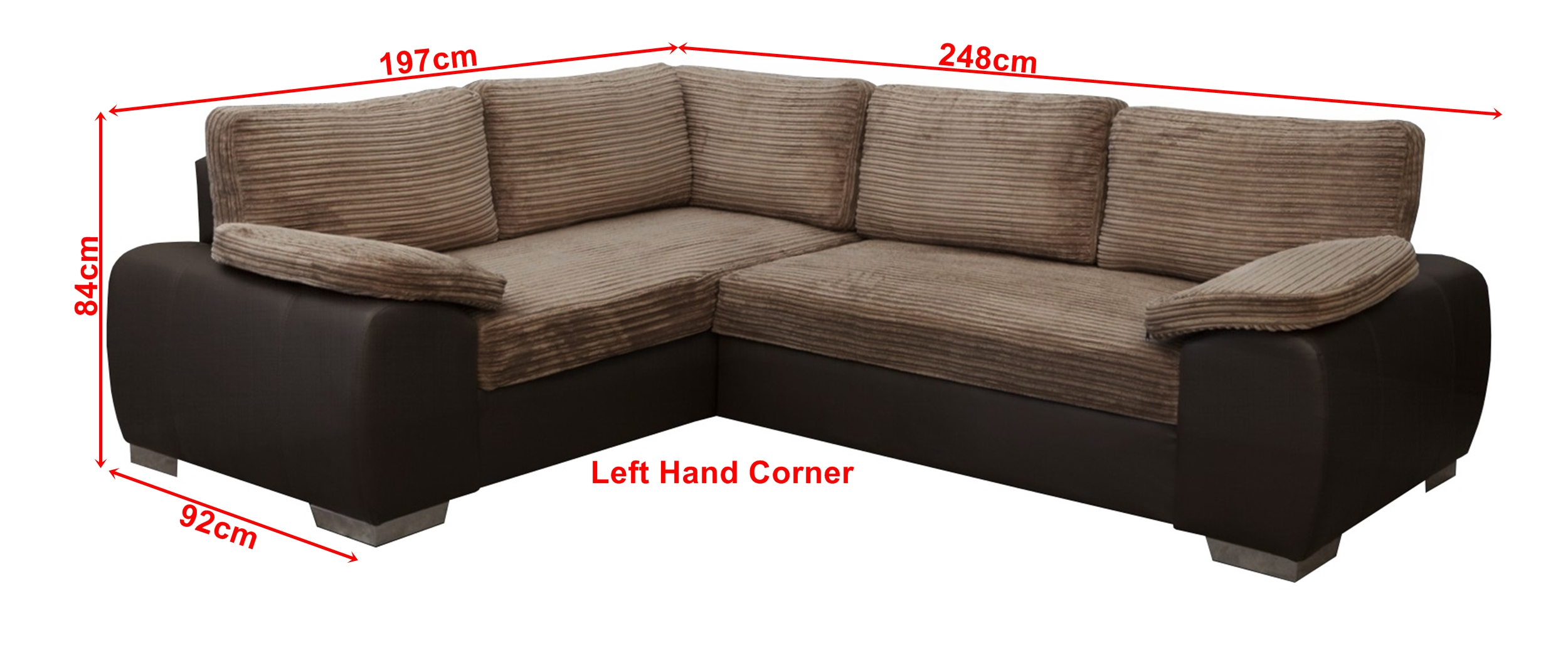 Corner Sofa Bed Jumbo Cord Details About New Corner Sofa Bed Enzo Brown Jumbo Cord Fabric Leather With Storage Left Hand
