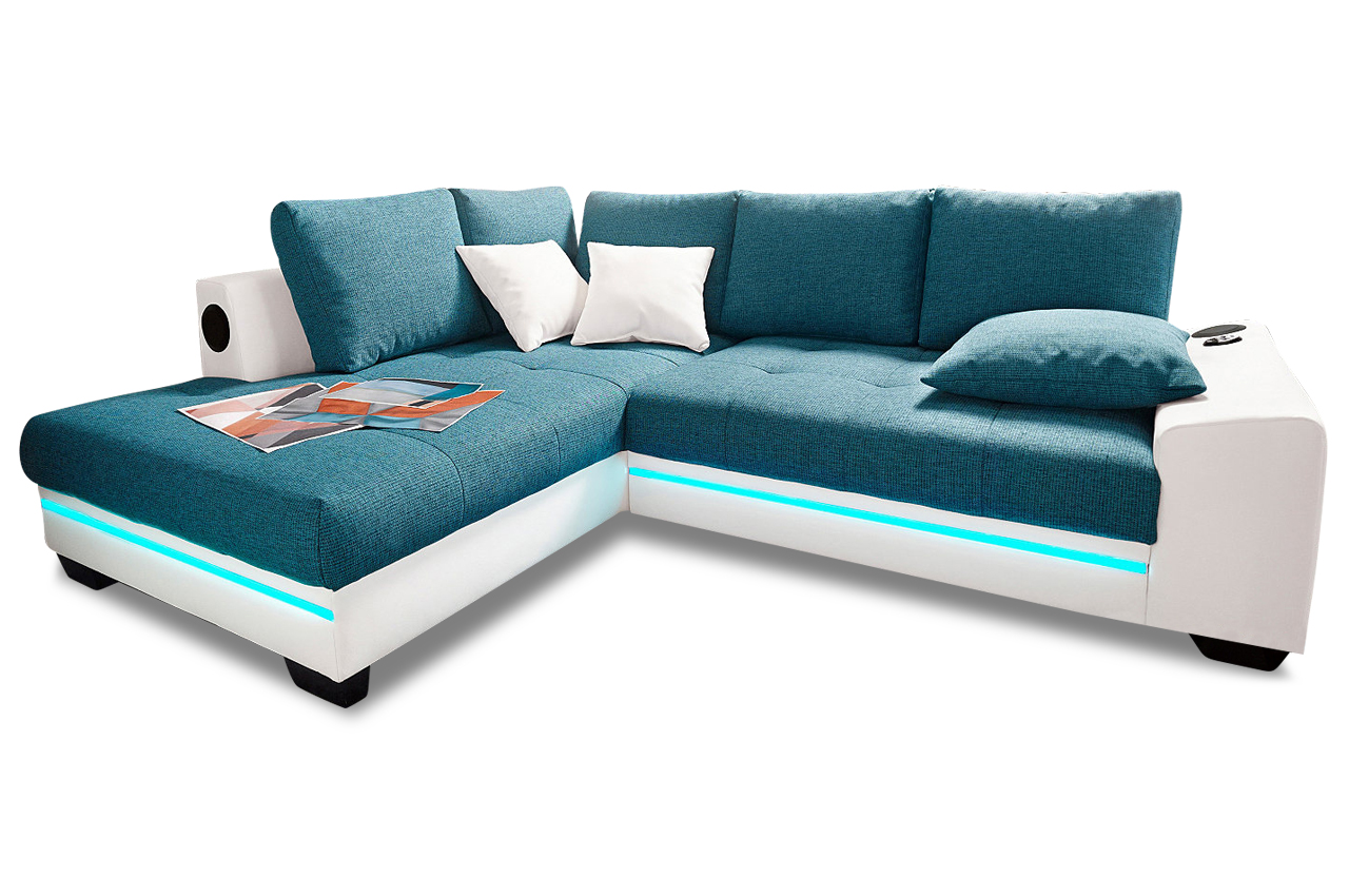 Sofa Bettfunktion Ecksofa Xl Nikita Links Mit Led Und Sound Gruen