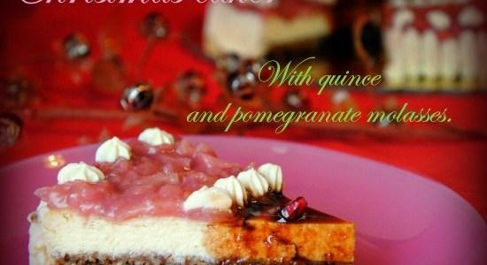 Χριστουγεννιάτικη τούρτα με κυδώνι και πετιμέζι ροδιού , χωρίς ζάχαρη!