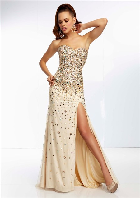 Nude Farbe Sheath Sweetheart Long Champagne Silk Tulle Gold Beaded