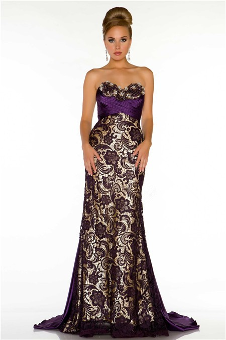 My Junior Prom Sheath Sweetheart Long Dark Purple Satin Lace Special
