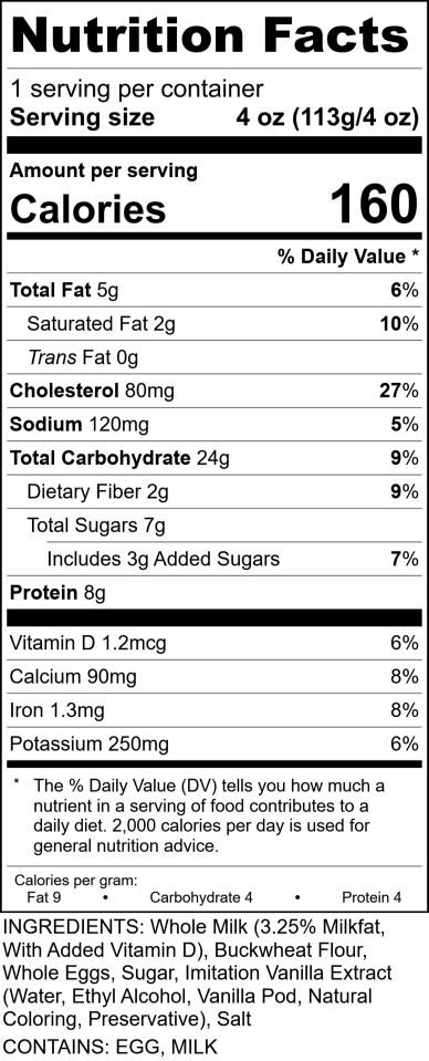 Sofis - Crepe Batter Buckwheat RecipeFormula Nutrition Label 4oz