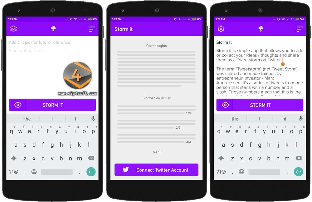 Storm it تطبيق أندرويد لتجزئة التغريدات الطويلة في تويتر تلقائياً