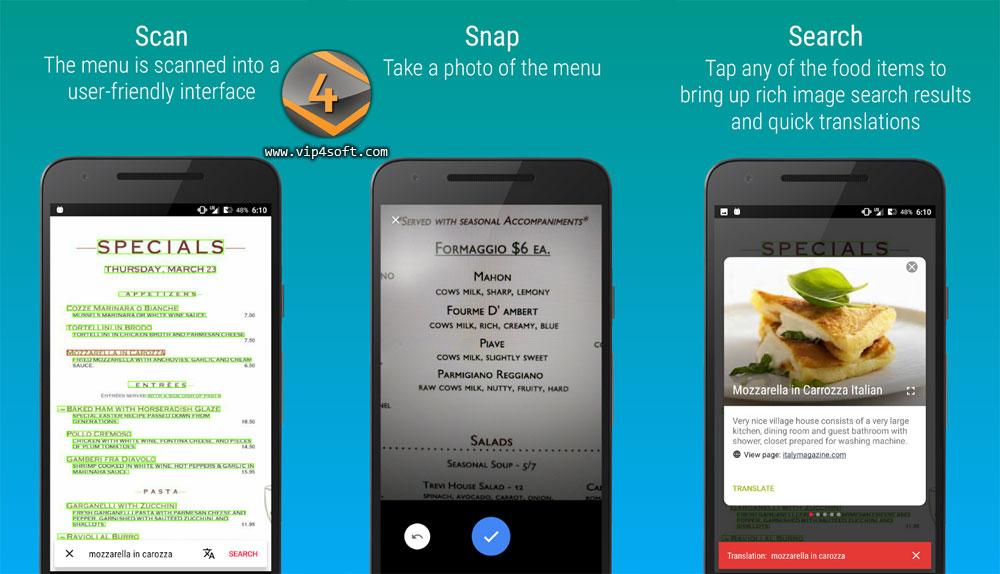 MenuSnap تطبيق أندرويد لترجمة أنواع وأسماء المأكولات