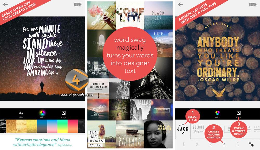 Word Swag تطبيق للكتابة على الصور للايفون والايباد